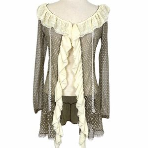 A'REVE Taupe and Cream Lace Ruffle Front Cardigan
